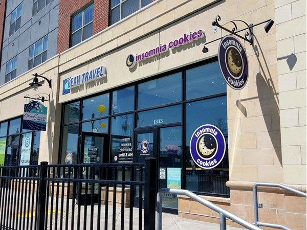 College Town. Get your late night cookie fix at Insomnia Cookies, open till 3 a.m. and they deliver