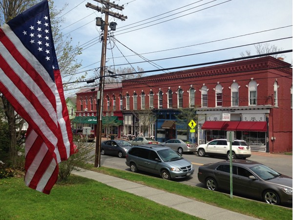 View of Main St businesses from the village office porch in Trumansburg