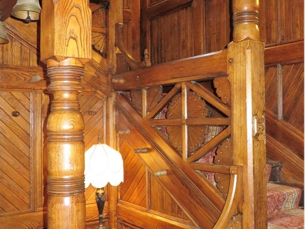 Beautiful wood staircase in the Glen Iris Inn at Letchworth State Park