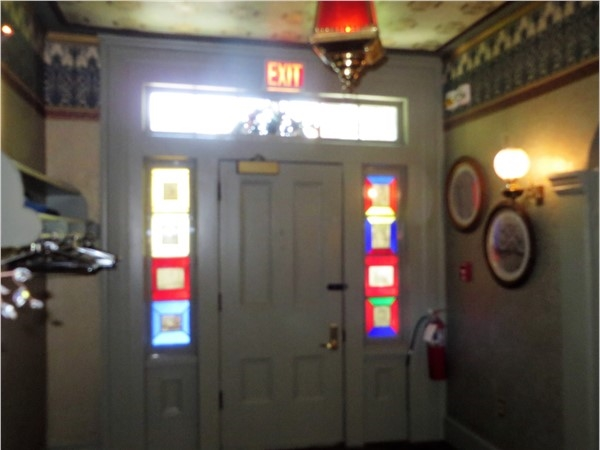 Colored glass sidelights of the front door to the Glen Iris Inn in Letchworth State Park