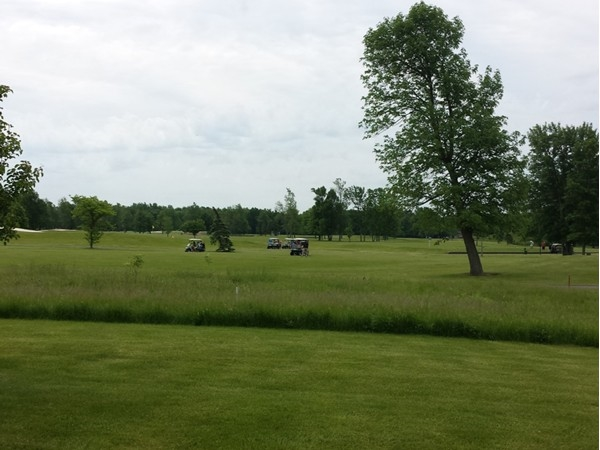 View of 9th hole taken from patio on a busy Saturday morning