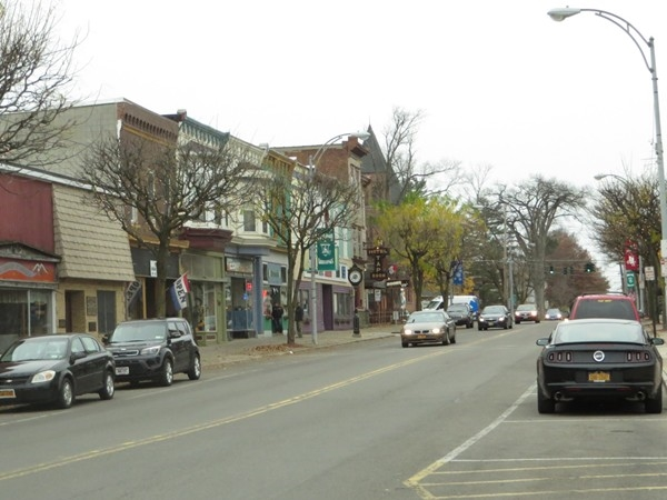 Business District on Main Street in the Village of Wolcott heading towards the four corners