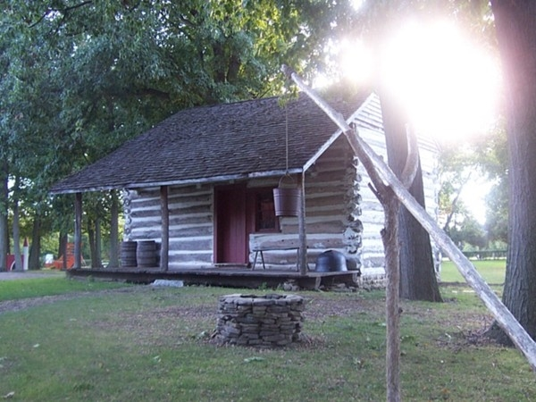 Authentic log cabin from 1823 was moved to this site adjacent to the town museum at Clarence Town Pa