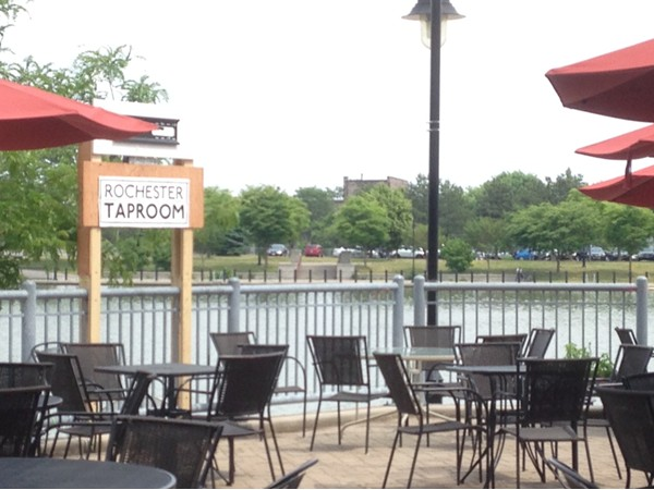 Great waterfront patio at the Rochester Taproom in Corn Hill Landing