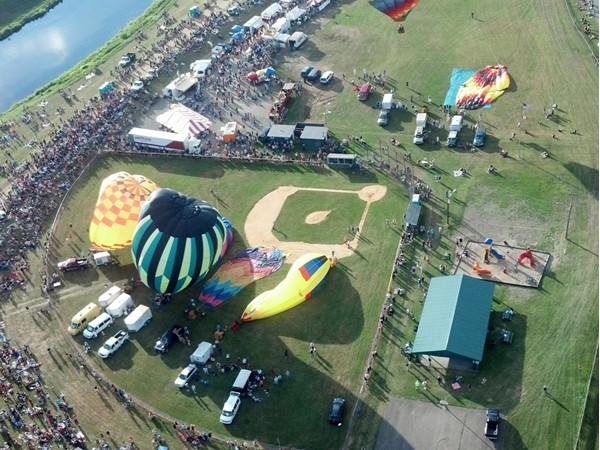View from above at the Wellsville Balloon Rally. Annual event takes place July 18-20, 2014