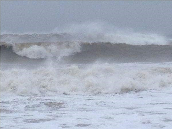 The ocean is not friendly before the coming storm. East Hampton Main Beach
