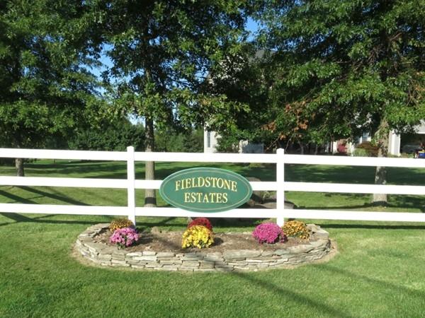 A pretty entrance to Fieldstone Estates