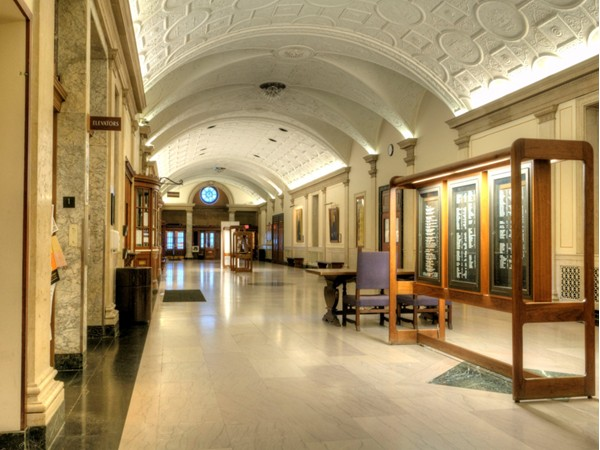 The lobby of the Eastman School of Music, one of the many architectural treasures of Rochester, NY.