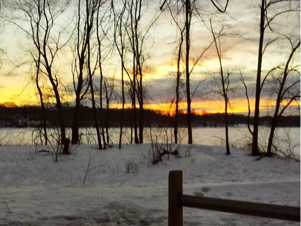 The colors at sunset looking west over Lake Ronkonkoma