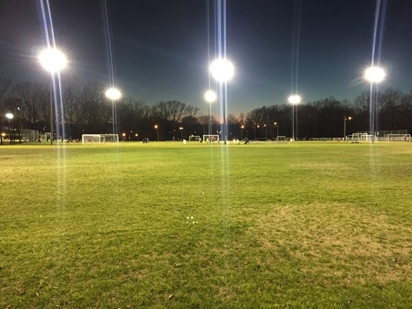 Even though it's cold, the lights are always on during soccer season at Traceway Park