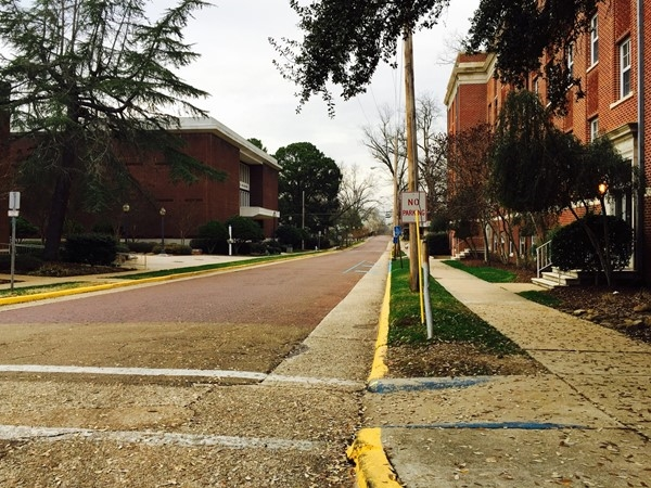 Morning on the brick streets at Mississippi College