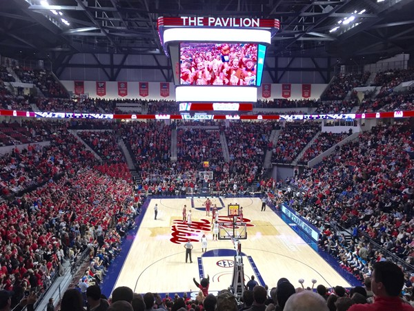 Opening night excitement in the new University of Mississippi basketball arena, The Pavilion