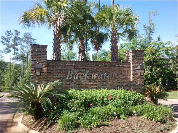 The entrance to Backwater...Oak Grove's quiet, convenient community
