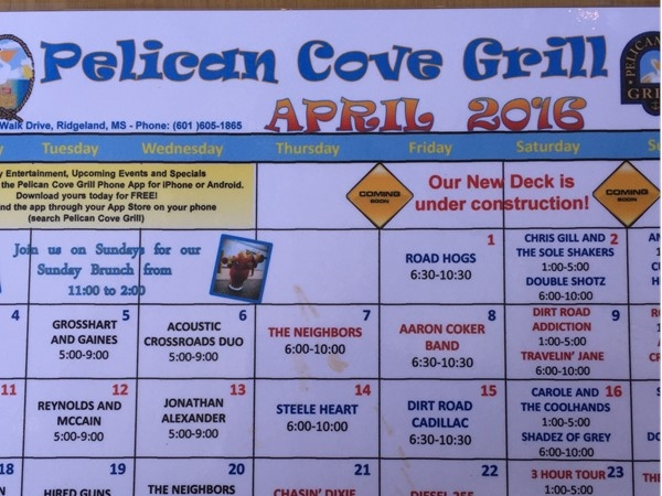 April music venue at Pelican Cove Grill on the Rez