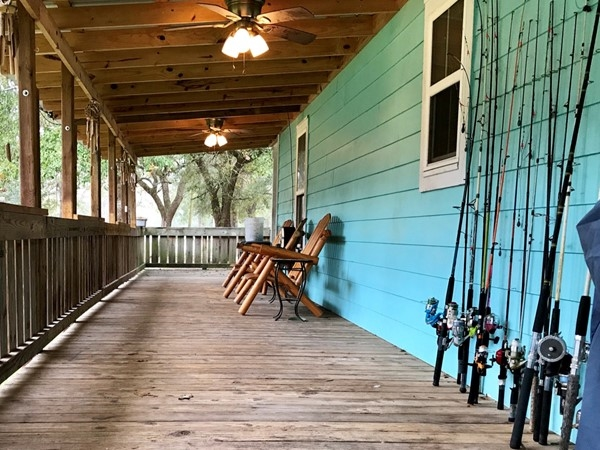 Needing a large porch? Or dreaming of fishing? This homeowner has an abundance of poles