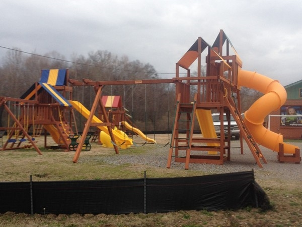 Here are a couple of examples of playgrounds at Swings, Trampolines and Goals