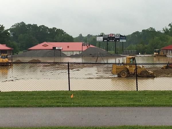 Installing new turf and a new track Arrow Field. The rain isn't helping
