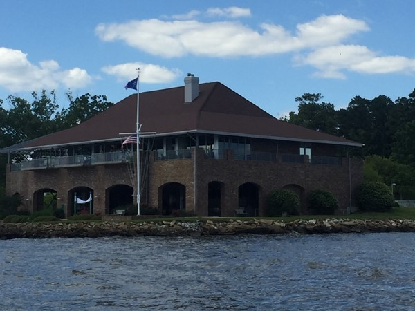 Main building of the Jackson Yacht Club from the water