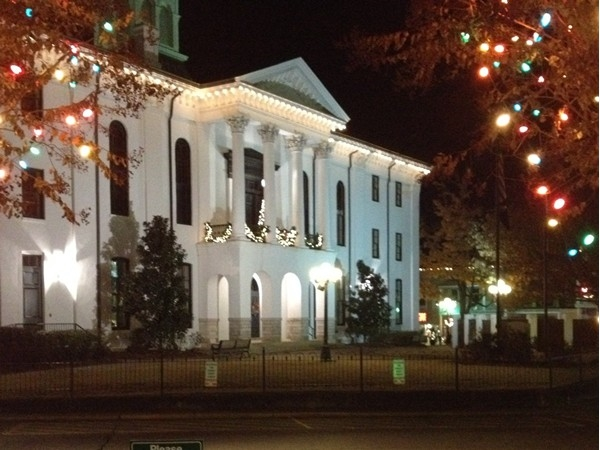 The historic Lafayette County Courthouse is dressed up for the holidays