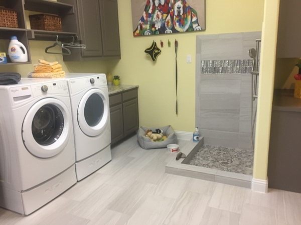 Gehan Homes has an option for a doggy wash in your laundry room