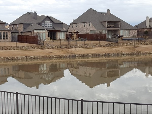 A view of some of the homes that back up to the pond