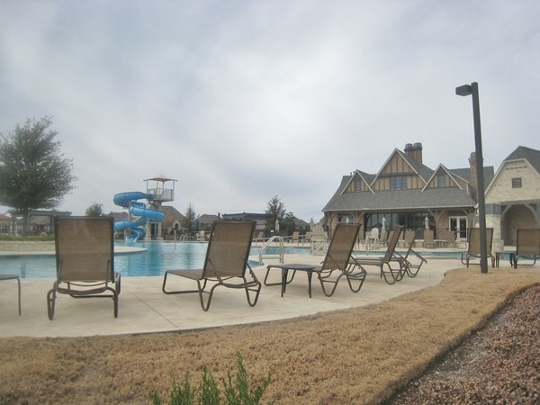 Community pool with waterslide