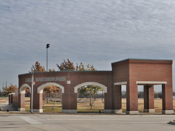 Harold Bacchus Park entrance off Main, bordering the east side of Cypress Creek