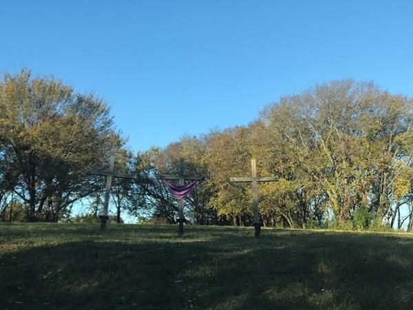 Three wooden crosses along Dalrock Road