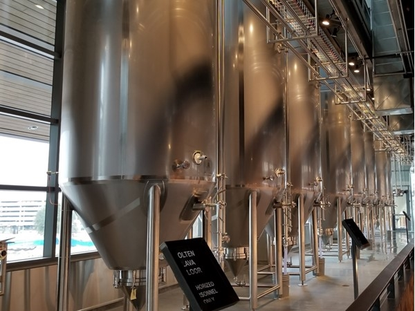 Here is some of the beer being brewed in Legacy Hall