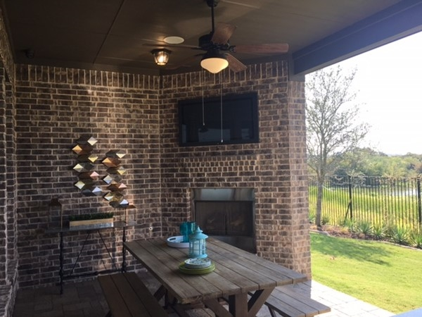 Patio at model in Edgestone