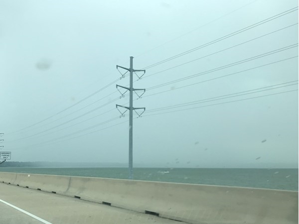 Driving from Rowlett to Rockwall across one of the Hwy 66 LRH bridges. See the rain?